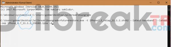 FutureRestore ile 11 3-11 3 1Restore (SHSH Kaydı ile) [Windows